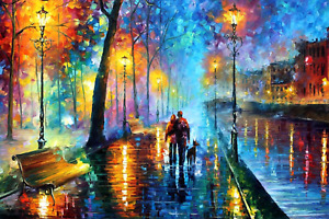 Lover Rainy Night Walk Art Painting Wooden Jigsaw Puzzle Adults  DIY 1000pieces