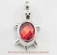 Turtle With Red Stone On Back Cremation Jewelry Keepsake Urn Pendant Chain