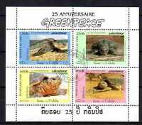 Animales Tortugas Laos (43) serie completo 4 sellos matasellados