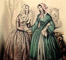 LE FOLLET 1845 Hand-Colored Fashion Plate #1282 Toilettes de Ville ORIG. PRINT