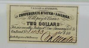 $2 Bond for $50 1861 PMG Unc. 63 EPQ, Confederate States of America Bond Coupon