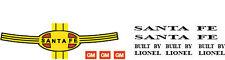 Lionel Santa Fe Diesel Engine Decal Set 2343, 2353