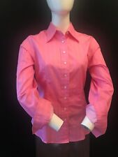 T.M. LEWIN Women's 100% Cotton Pink With White Stripes Shirt UK 10