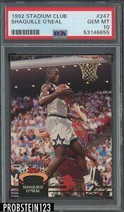 1992 Stadium Club #247 Shaquille O'Neal Magic RC Rookie HOF PSA 10 GEM MINT