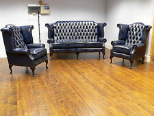 Queen Anne Leather Chesterfield High back Wing 3 seater & 2 Chairs