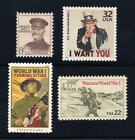 Внешний вид - WORLD WAR I - WWI - SET OF 4 U.S. STAMPS (UNCLE SAM, GEN. PERSHING, VETERANS)