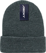 Dark Grey Ribbed Watch Cap Beanie Knit Winter Hat  Stretch Snowmobile Ski Decky