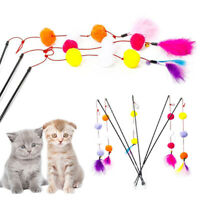 DI- Pet Kitten Play Interactive Fun Toy Cat Teaser Wand Feather Bell Stick Prope