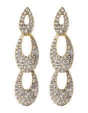 Pendientes de clip-oro con forma de gota cubiertos con Cristales Claro-Blake G