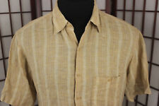 Utopia Washable Linen Tan White Striped Sz Large SS Single Pocket Camp Shirt