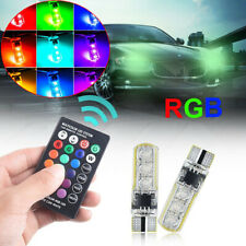 2x RGB LED Car Wedge W5W T10 5050 6SMD Light Multi Color Bulbs w/ Remote Control