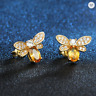 Bumble Bee Gold Filled Amber CZ Crystal Gem Stud EarringsFashion Women UK Sell