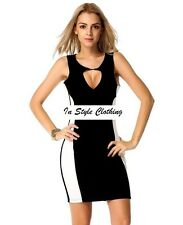 "SALE RILEY"" BEAUTIFUL SIZE 12-14 BLACK WHITE  KEYHOLE CROSSOVER STRETCH DRESS"