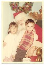 Vintage 60s PHOTO Little Girl & Boy w/ Santa Claus Christmas Portrait