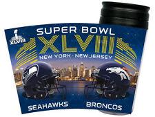 SUPER BOWL XLVIII  SEAHAWKS vs BRONCOS DUELING 2014 NYC 16oz TRAVELTUMBLER MUG