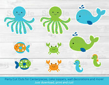 Blue Under The Sea Party Cutouts Decorations Printable