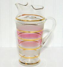"Vintage mid century modern Barware Pitcher glass gold pink stripe 9"" tall"