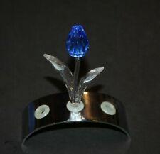 SWAROVSKI CRYSTAL BLUE TULIP & DISPLAY STAND RENEWAL GIFT ORIGINAL BOX