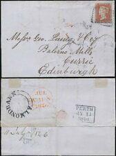 PENNY RED IMPERF SCOTLAND 4 MARGINS GK...1846 PERTH...ALMONDBANK UNDATED CIRCLE