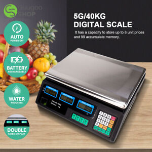 40kg Electronic Price Scale Digital Commercial Food Meat Weighting Shop Retail
