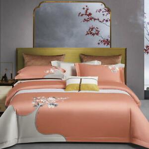 Bedding set 4pcs 100S Pima cotton perfect embroidered bedding bag flat sheet set