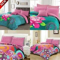 Floral Geometric Duvet Quilt Cover Bohemian Bedding Set Single Double Super King
