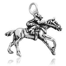 Jockey Caballo De Carreras encanto plata esterlina .925 cmeqrc 01 galopante Caballo De Carreras Racing