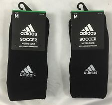 Adidas UNISEX Soccer Metro Socks Arch & Ankle Compression 2-Pack Black Size M