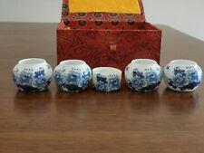 1set 5pcs Asian Bamboo Bird Cage Set Blue peony flower cups 牡丹鸟食�