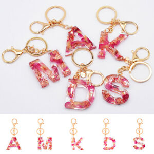 Original handmade letter keychain flower dried flower key ring key bag hanging