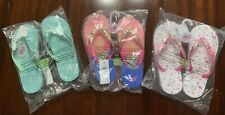 3 Pairs Of Justice Flip Flops Girls Sz (S) 2/3  NWT, Fast Shipping