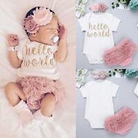 ❤️ Newborn Baby Girls Clothes Set Romper Bodysuit+Pants Dress+ Headband Outfits
