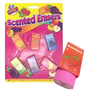 Fruit Scented Erasers Rubbers - Pack of 6 Kids Party Bag Filler Toy UK Stockist