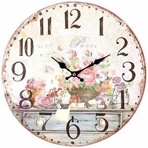 """Vintage Inspired French Pink Flowers Kitchen Wall Clock Battery-Powered 13"""" NEW"""