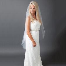 1T White Ivory Cathedral Wedding Bridal Cut/Raw Veil