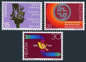 Switzerland 596-598,MNH. Mi 1039-1041. Constitution-100, 1974. Sport, Post horn.