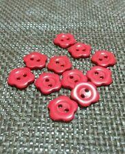 15 Bottoni 2 Fori a forma di fiorellino in resina rossi