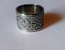 NWOT Sterling Silver Wide Band Ring w/ Antiquing Size 7 (#R130)
