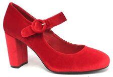 NEW $89.95 I LOVE BILLY Miranda Velvet Women High Block Heel Red Black Mary Jane
