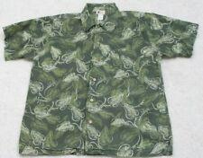 Large Cherokee Green Hawaiian Shirt Button Up Short Sleeve Man's Cotton Pocket
