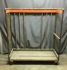 1 Antique Industrial Metal Frame Wooden Shoe Rack Old Shop Garage VTG 1295 20B