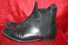 TOPSHOP Black Leather Chelsea Ankle Boots UK7 EU41 Flat Broken Heel Very W0rn