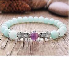 Wrist mala 8MM blue Chalcedony Elephant bracelet Amethyst Reiki Sutra cuff Bless