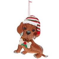 """RAZ Imports Felt Dog Christmas Ornament — Festive Boston Terrier 6/"""" x 6.2/"""" x 1/"""""""
