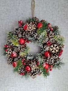 Christmas Wreath 38cm Snowflakes Xmas Hanging Door Wreath Decoration Red Frosty