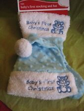 "NEW Baby's first Christmas Blue Stocking and Santa Hat 13"" So Soft!"