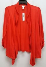 CHICOS Size 2 Red Thin Knit Open Ruffle Front Cardigan Wrap Top