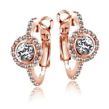 Rose Gold Tone 2.6ct White Topaz Round Clutchless Earrings