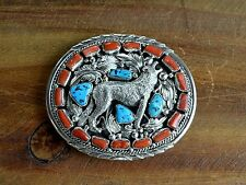 Vintage Navajo Sterling Silver Turquoise and Coral Wolf Belt Buckle