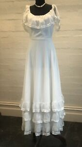 Original 1970s Vintage White Maxi By Sally BrowneThree Layers Of Flounce & Flair